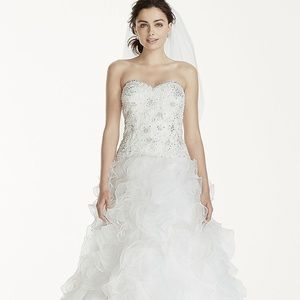 NEW!!! David's Bridal Princess Gown White Beaded
